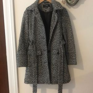 Tweed trench jacket with belt